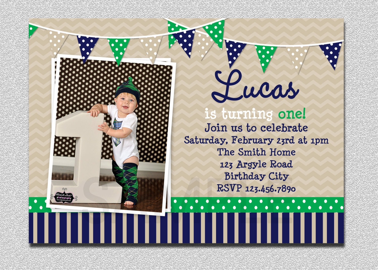 Preppy bunting boys birthday invitation navy green birthday zoom filmwisefo Image collections