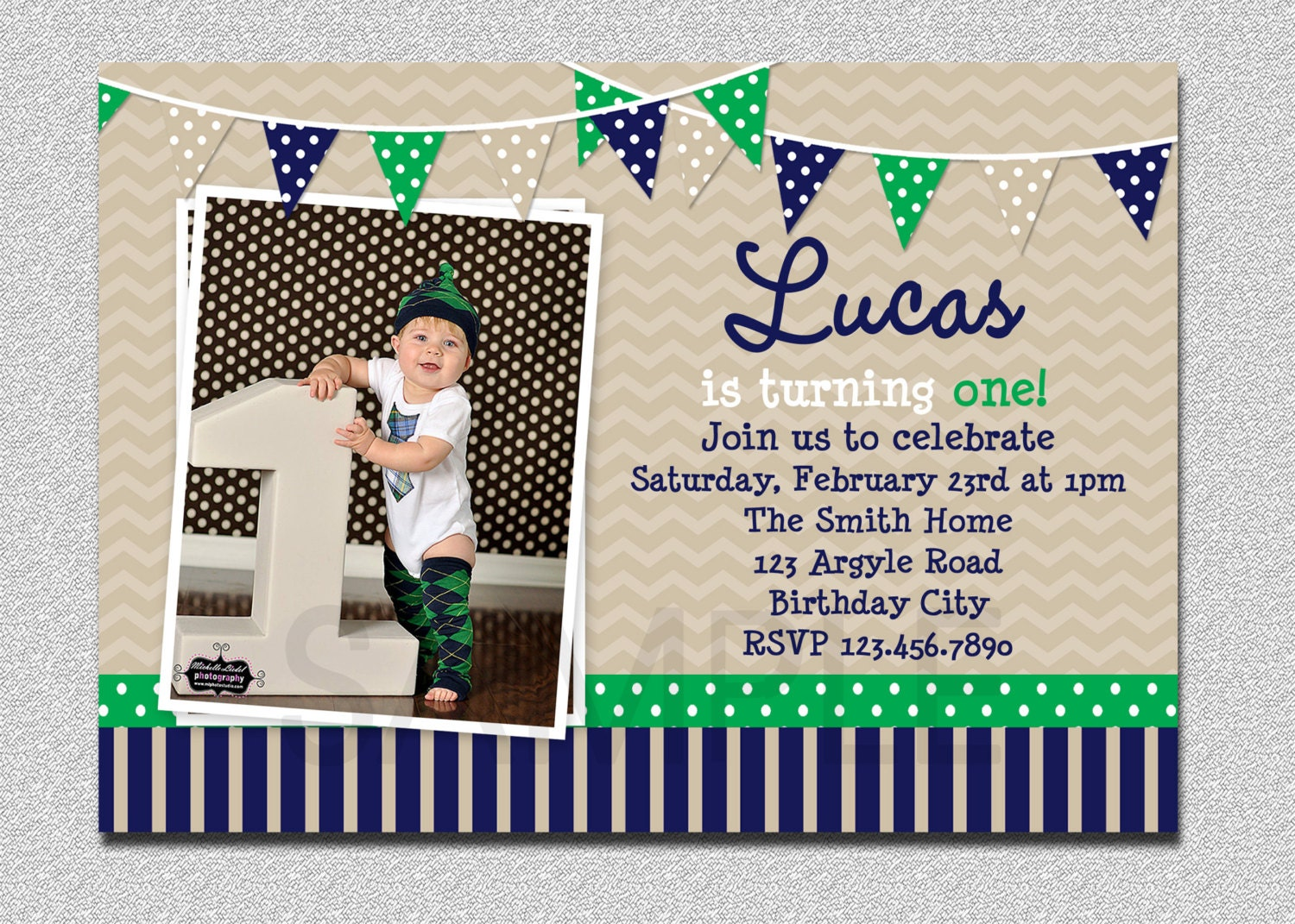Preppy bunting boys birthday invitation navy green birthday zoom stopboris