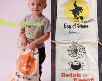 Personalized Halloween Sack with Drawstring - Trick or Treat Bag- Halloween Tote– 3 Designs Available