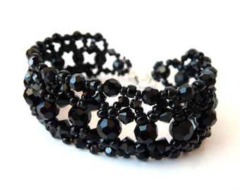 Black Beaded Bracelet, Swarovski Crystal, Costume Jewelry, Bead Bracelet, Black Cuff Bracelet, Beadwoven, Vintage Inspired, Beaded Jewelry