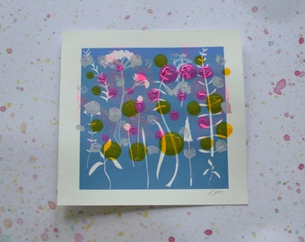 CLEARANCE - Unique One Off Monoprint - Floral Cyanotype I
