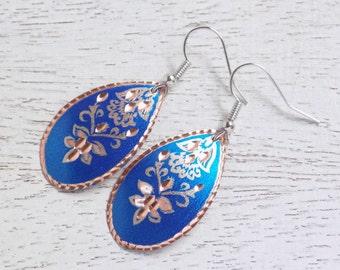 Blue Copper Earrings, Copper Earrings, Lightweight Earrings, Floral Dangle Earrings, Royal Blue Earrings, Long Earrings, Mom Gift, C2-01