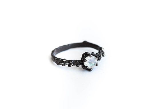 Moonstone barnacle engagement ring, nature moonstone engagement ring, nature ring