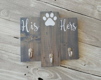 Key And Dog Leash Holder, Wall Key Holder, His Hers And Dog Key Holder