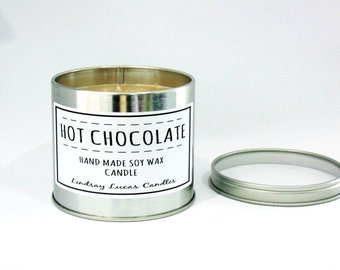 Chocolate Candle, Chocolate Scented Candle, Scented Candle, Tin Candle, Hot Chocolate Scent, Large Candle, Strong Candle, Chocolate Gift