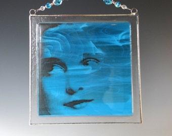 """6 """" Fused Glass Suncatcher Panel Luna Woman's Face Aqua Sky Blue"""