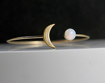Crescent Moon BANGLE with genuine vintage opal stone. Hand patinated gold. Fully adjustable. Gift for her.
