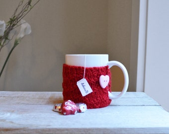 Knit Coffee Cozy, Hand Knit Cozy, Wool Coffee Sleeve, Cup Cozy, Reusable Coffee Sleeve, Gift Under 15, Red Cozy, Valentine, Stocking Stuffer