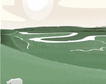 The River Cuckmere retro destination print
