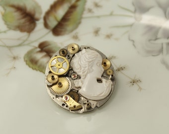 Steampunk brooch with gears & cameo, vintage style, unique piece
