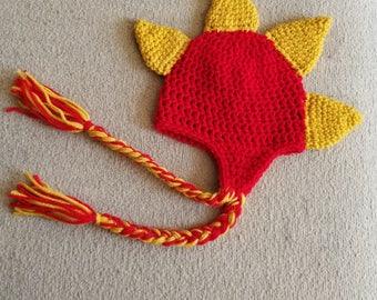 Crochet Dinosaur Dragon Baby Boy Girl Hat, Photography Photo Prop, Size Newborn, Infant, Toddler, Child – Cherry Red & Gold