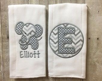 Elephant Burp Cloth Set, Personalized Burp Cloths, Embroidered Elephant Burp Cloths, Burp Cloths, Burpies, Elephant Nursery
