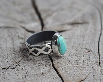 Sterlin silver ring with natural turquoise.