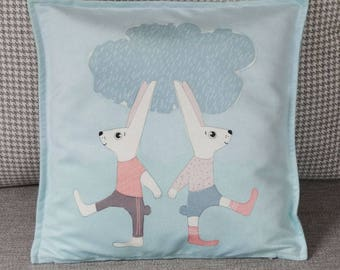 Animal Cushion, Baby Gift, Decorative Pillow, Pillow Cover, Throw Pillow Blue, Animal Throw Pillow, Kids Pillows, Bunny Pillowcase