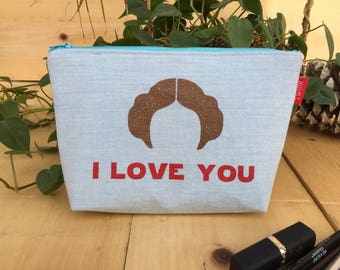 Star Wars 'I Love You/I Know' Flat Bottom Pencil Case Zipper Pouch Makeup Bag