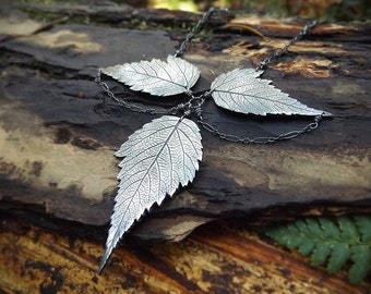 Custom Rubus spectabilis - Salmon Berry Leaves -  Fine Silver Statement Necklace  by Quintessential Arts