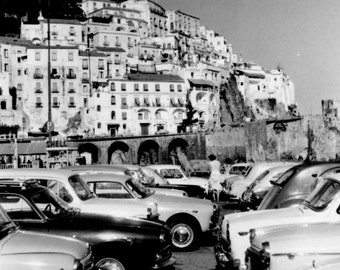 Amalfi Coast, Vintage Print, Italy Wall Art, Italy Photography, Black and White Art, Vintage Print, Photos for Living Room,