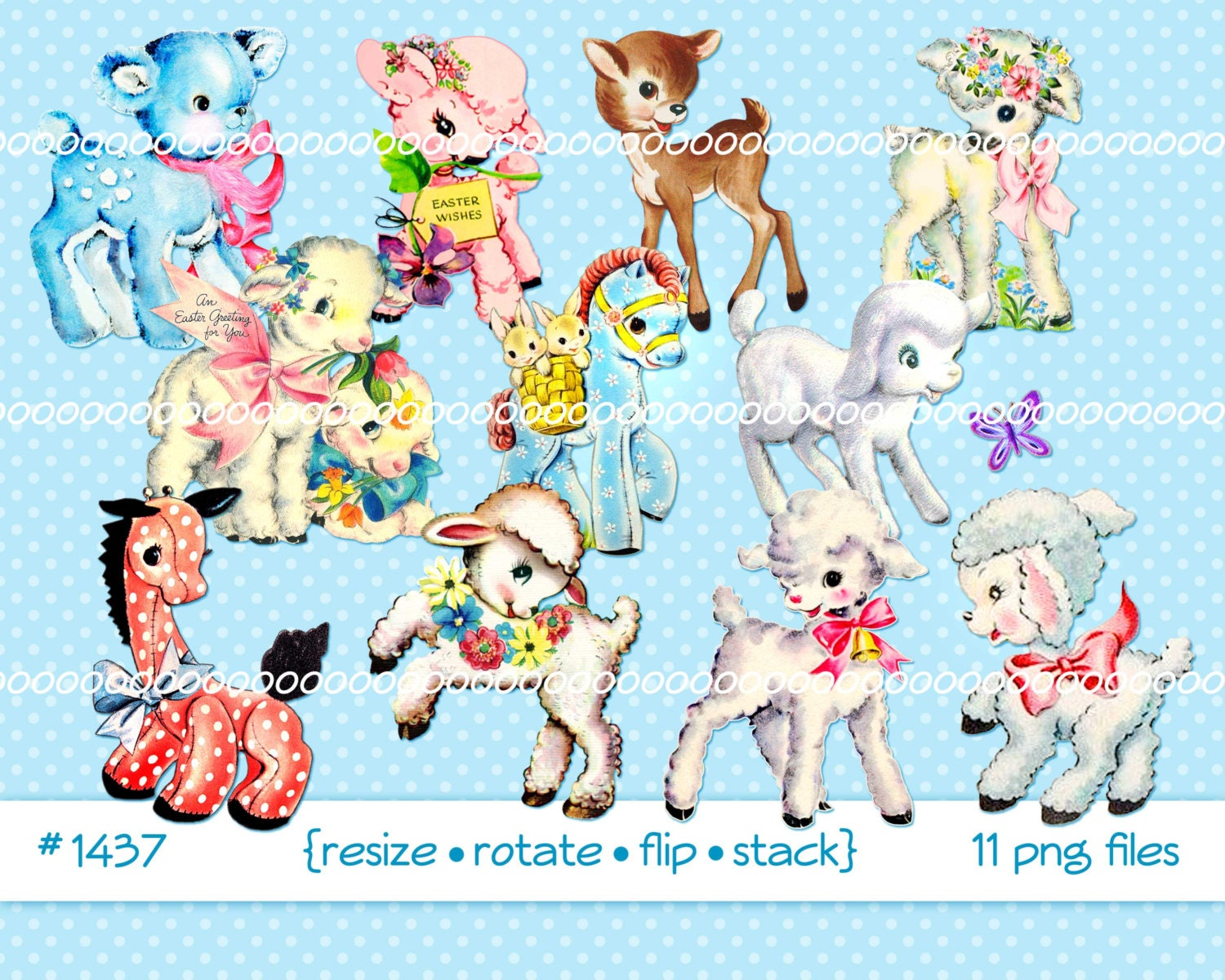 Digital Clipart instant download Vintage Easter Images lamb