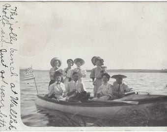 Wall Lake. Fergus Falls, MN ~ Antique RPPC 1908 Young Adults Boating