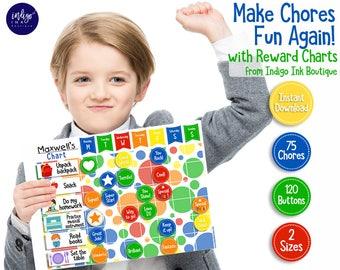 Reward Chart INSTANT DOWNLOAD | Boys Chore Chart | Printable Task Chart | Behavior Chart | Childs Chore List | Responsibility Chart