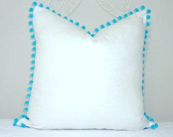NEW White Pillow Aqua Blue Pom Poms Fun Pom Pom Pillow Cover White & Aqua Blue