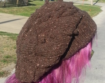 Knitting Pattern Mocha Java Slouchy Hat Beanie Super Bulky Cables Bobbles PDF Download