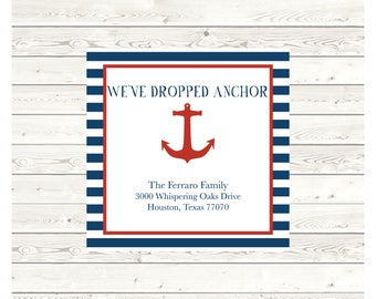 Ferraro Moving Announcement, 5x5, New Address Announcement, Printable Announcement, Nautical Moving Announcement, Digital File, Printed Card