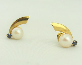 Pearl And Sapphire Stud Earrings- 14k Yellow Gold