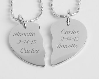 Best Friends Necklace, Personalized Silver Split Broken Heart Necklace Custom Engraved Free, Couples Necklace, His And Hers Necklaces