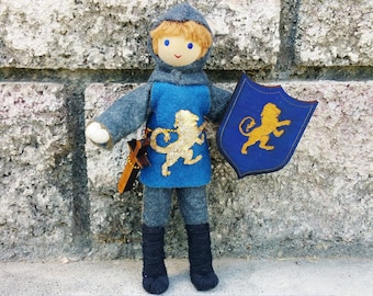 Knight Doll - Bendy doll - Dollhouse castle - Dollhouse dolls -blue tunic - Waldorf Castle - Boy Doll - Light Brown Hair