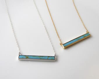Skinny turquoise bar necklace, layering bar necklace, turquoise necklace, framed turquoise pendant available in gold or silver