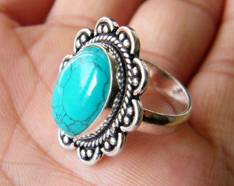 Turquoise Ring, Silver Plated Ring, Silver Brass Ring, Birthday Gift, Women Jewelry, Designer Ring, Ring size-6.75