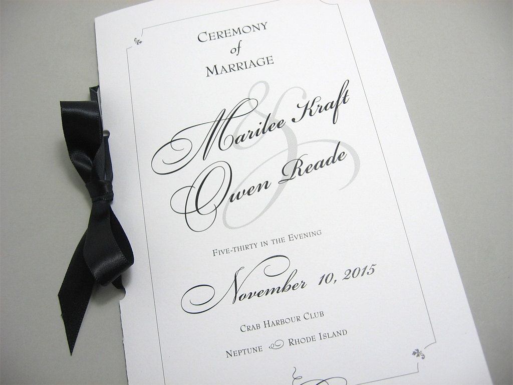 wedding program booklet black white custom classic