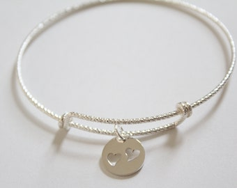 Sterling Silver Bracelet with Sterling Silver Disk with Two Heart Cutouts Charm, Heart Disk Charm Bracelet, Heart Bracelet, Heart Charm