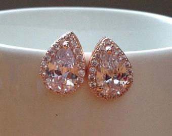 Rose gold pear-cut cubic zirconia stud earrings