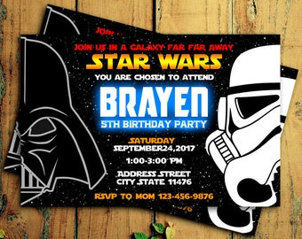 Star wars invitation etsy star wars invitations star wars birthday invitation star wars birthday party darth vader filmwisefo Image collections