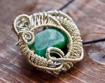 Tumbled African Jade Pendant  // Heady Wire Wrap // Sterling Silver Necklace // Green Gemstone
