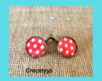 Red Stud Earrings with polka dots 15 mm