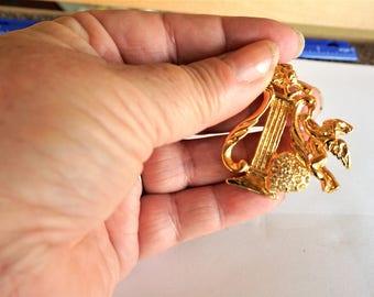 Cupid Brooch / Pin / Cupid Jewelry / Rhinestone Heart Brooch / Pin / Valentine's Jewelry / Harp Brooch / Pin / Heart Brooch / Pin