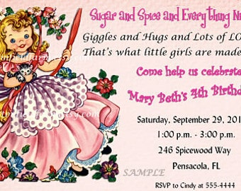 Retro Little Girl in Swing  Birthday Party  Invitation Personalized Digital Download C-364 Sugar and Spice and Everything Nice