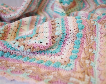 Crochet blanket pastel