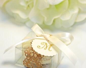 Glitter doily, Gold Favor box, Doily Macaron Box - 30 Glitter Gold Favor Boxes