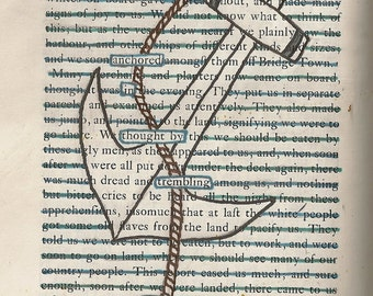 Found Text Blackout Poem 'Anchor' on A6 Greeting Card
