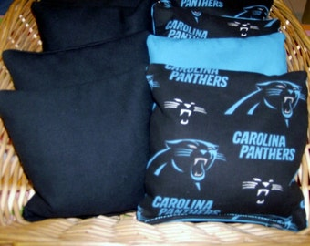 8 PC Set of Corn Hole Game Bags 4 Carolina Panthers and 4 Black Duck Canvas Corn Hole Game Bags