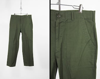 Vintage 70s US Army Pants Green Military Utility Trousers Cotton OG 507 - 34 x 29