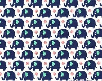 Blue Elephant Fabric, Michael Miller Mini Elephants CX6547 SPRO, Baby Quilt Fabric, Navy Elephants on White, Nursery Decor, Cotton