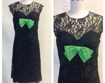 60s Dress / Peggy Hunt Cocktail Dress / 1960s Lace Dress