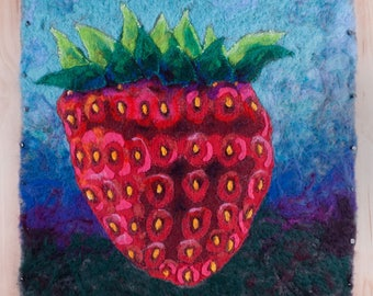 Original Needle Felted Embroidered Textile Strawberry Painting | Strawberry Rising