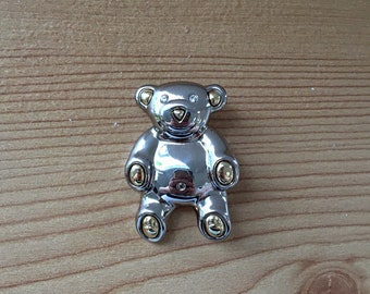 Vintage Liz Claiborne Gold and Silver Tone Metal Teddy Bear Brooch with Crystal Eyes