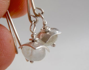 natural aqua, sterling silver, hand fabricated light dangle earrings